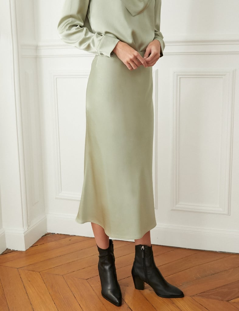 Pixie Market Pistachio Green Satin Skirt