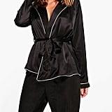 Boohoo Boutique Eve Satin Robe Front Night Shirt & Trouser PJ Set