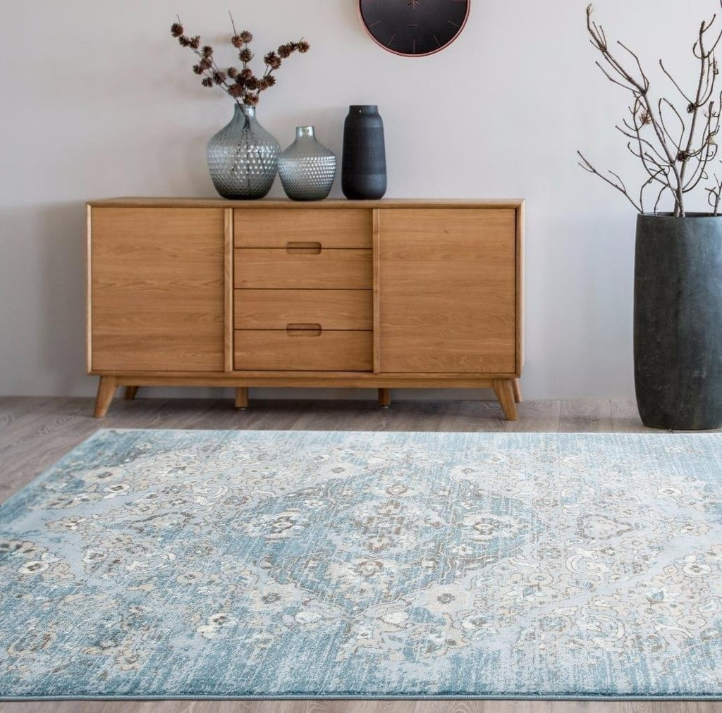 Distressed Blue Area Rug