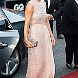 Shimmery elements, pretty color and a ribbon sash on this Hugo Boss gown could make an appearance on Pippa's big day — especially since the shade suits her skin and hair tone so well.