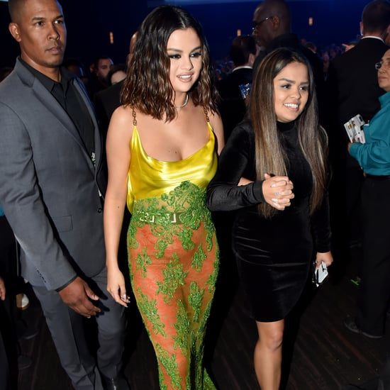 Selena Gomez Green Versace Lace Dress at the AMAs