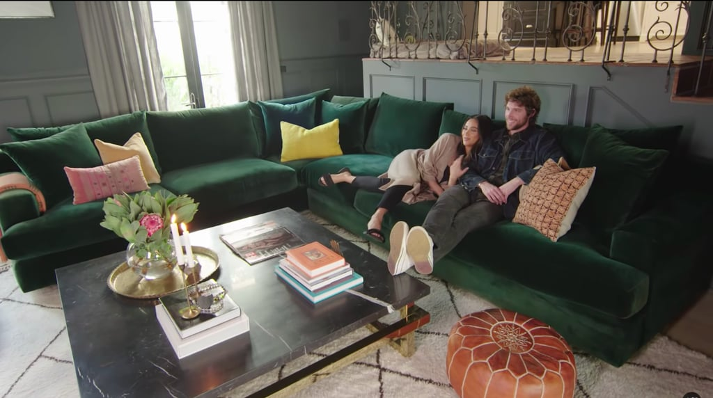 She had a huge emerald green velvet couch custom-made, which is ideal when tall friends like Chad come to visit.