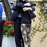 Selena Gomez hugged a friend who joined her for lunch with her mom in LA.