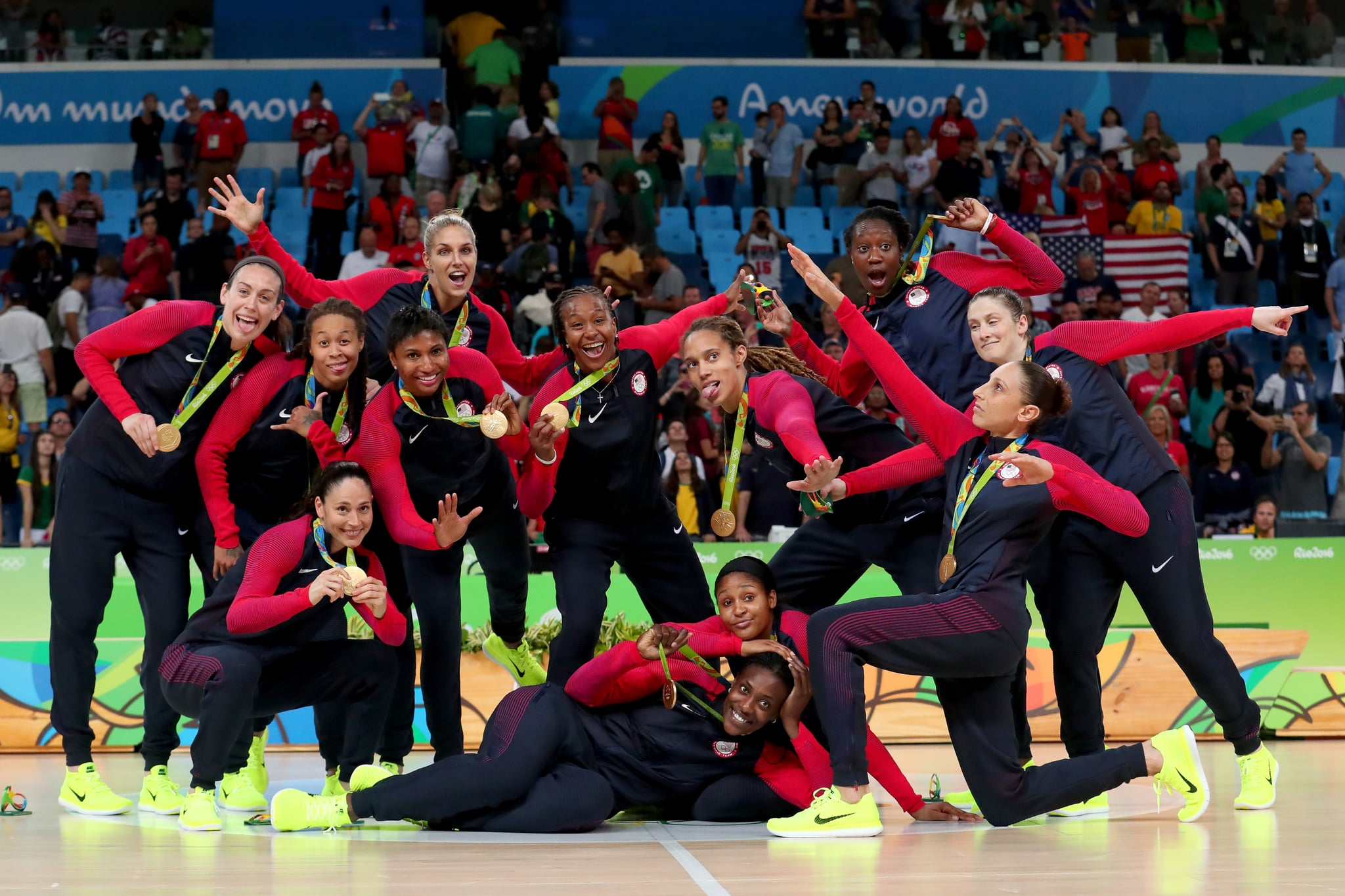 RIO DE JANEIRO, BRAZIL - AUGUST 20:  Gold medalists Team USA celebrate during the medal ceremony after the Women's Basketball competition on Day 15 of the Rio 2016 Olympic Games at Carioca Arena 1 on August 20, 2016 in Rio de Janeiro, Brazil.  (Photo by Tom Pennington/Getty Images)