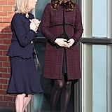 Kate Wearing the Same Seraphine Coat in 2017 at the Magic Mums Christmas Party in London