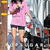 Kendall had a super casual moment in Prix Workshop biker shorts and her Adidas Wave Runner trainers. She stood out on the streets of West Hollywood in an oversize pink Adaption tee.