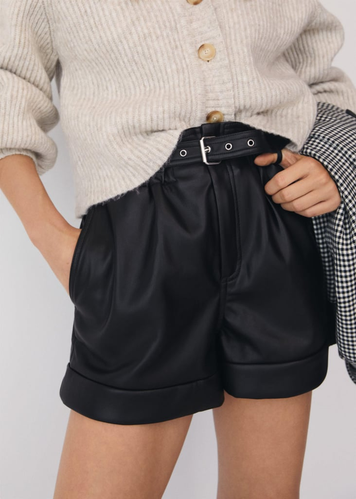 Belted Leather-Effect Shorts