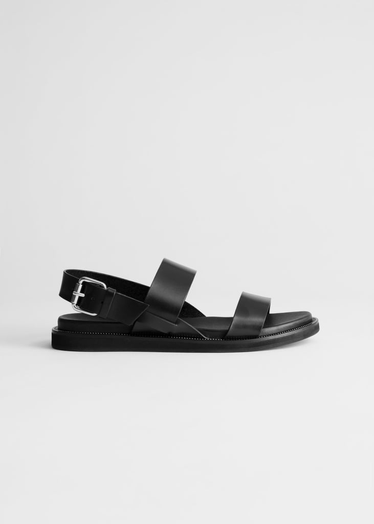 & Other Stories Diagonal Slingback Leather Sandals