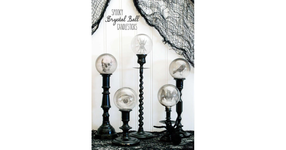 Crystal ball candlesticks diy vintage halloween decor Vintage halloween decorations uk