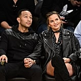 John Legend and Chrissy Teigen at Lakers Game March 2016