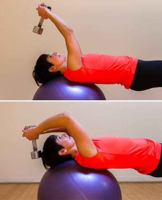 Stability Ball Upper Body Workout: Overhead Triceps Extension On The Ball