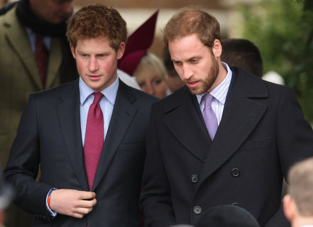 Prince William's beard was on full display when the brothers stepped out for the Christmas Day church service at St. Mary's Church in Sandringham, England, in December 2008.