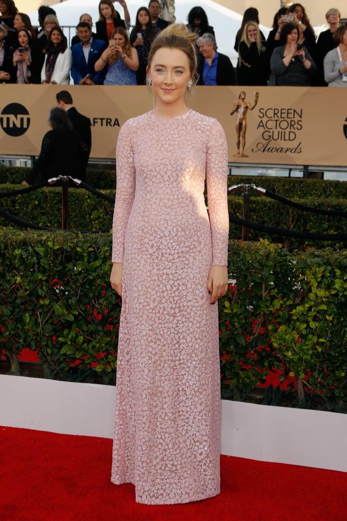Saoirse Ronan in a powder-pink Michael Kors gown.