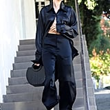 Hailey Baldwin Styled Silk Pajamas With Vans Sneakers