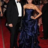 Melania's satin Christian Siriano dress came in a deep navy shade for the American Woman: Fashioning a National Identity Met Gala in 2010.