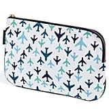 Keep Leaf Flat Cosmetic Bag in Planes Print