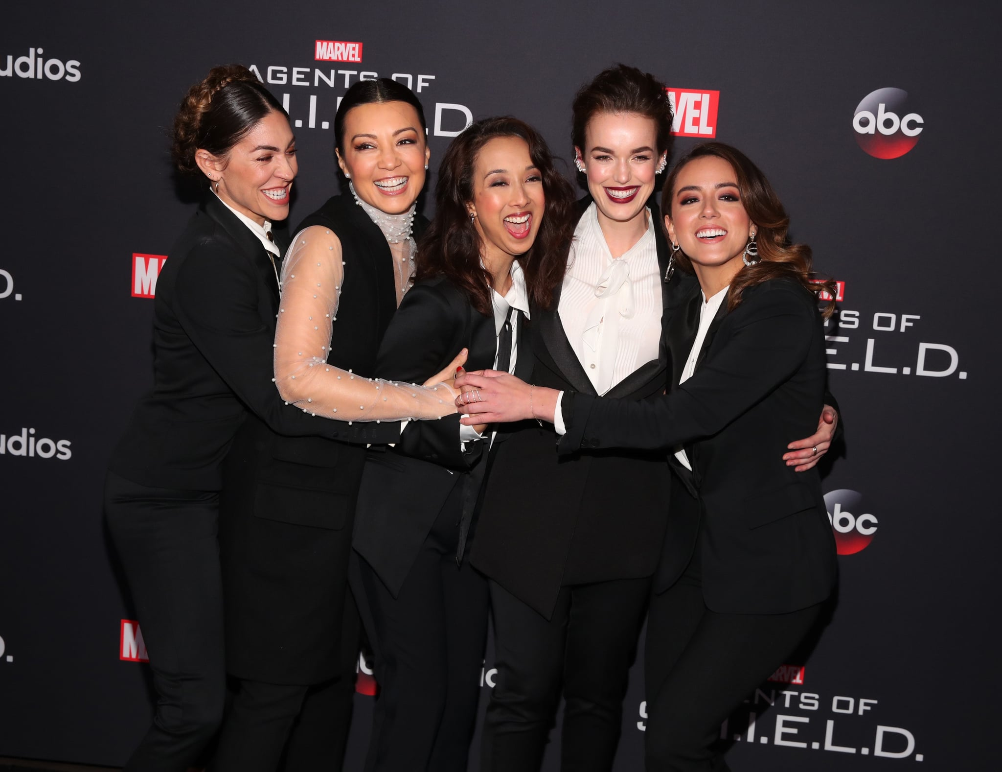 HOLLYWOOD, CA - FEBRUARY 24:  (L-R) Natalia Cordova-Buckley, Ming-Na Wen, Maurissa Tancharoen, Elizabeth Henstridge and Chloe Bennet attend the 100th episode celebration of ABC's