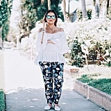 An Off-the-Shoulder Top, Loose Pants, and Loafers