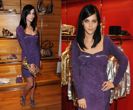 MisShapes Leigh Lezark Attends Hogan & Best Buddies in London Wearing Purple Suede Dress