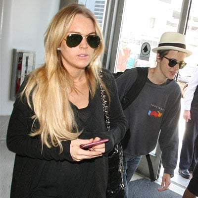 Lindsay Lohan and Samantha Ronson at LAX 2008-08-02 09:45:00