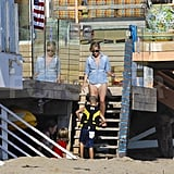 Reese Witherspoon with son Deacon Phillippe on the Malibu beach.