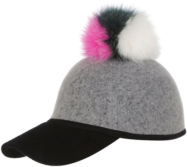 Charlotte Simone Sass Baseball Cap With Tricolor Fur Pom-Pom, Gray/Green/Pink/White ($145)