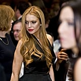 Lindsay Lohan wore an elegant black dress to the White House Correspondant's Dinner.