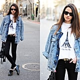 We love the '90s vibe showcased here. To re-create it, embellish an old-school denim jacket with oversized pearls; then, style it with a cheeky printed t-shirt and slick flats. Photo courtesy of Lookbook.nu