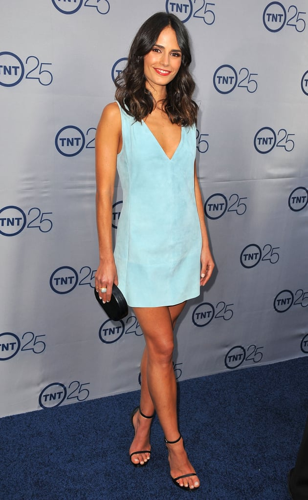 Jordana Brewster took the plunge in a blue suede V-neck dress and black add-ons at TNT's 25th Anniversary party in Beverly Hills.