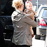 Maxwell gave a pout as she and mom Jessica Simpson got out of the car in LA on Monday.