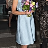 She went solo when she visited the National Portrait Gallery in London on April 24, 2013, in a powder-blue Emilia Wickstead frock.