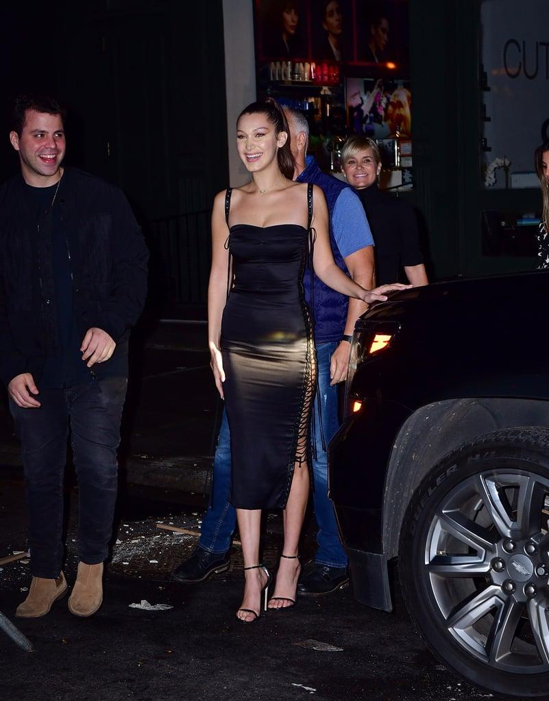 Bella Hadid Black Lace-Up Dress