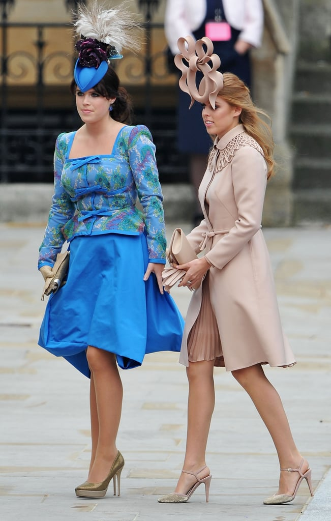 Princess Beatrice and Princess Eugenie walked into Westminster Abbey together. Like many of the women at the royal wedding, the sisters are wearing hats designed by Philip Treacy. Beatrice chose a Valentino couture gown and Cornelia James gloves, while Eugenie went with Vivienne Westwood. Kate Middleton has just arrived, so stayed tuned for lots more pictures!