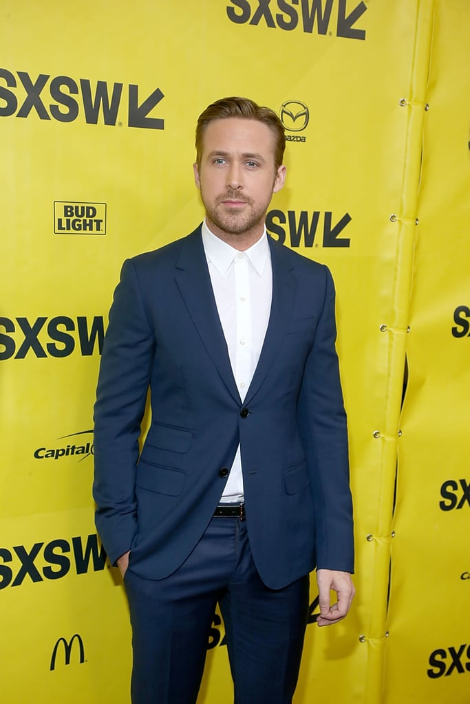 Ryan Gosling has been on quite the hot streak lately, and he doesn't seem to be slowing down anytime soon. On Friday, the actor popped up at the Paramount Theatre in Austin, TX, for the premiere of his new film, Song to Song, during the SXSW festival. Ryan looked handsome as usual in a navy suit and was joined by his costars, Michael Fassbender and Rooney Mara. The annual festival was the perfect backdrop for the screening given the fact that the movie is set around the city's music scene. While it's unclear if Ryan's other half, Eva Mendes, joined him, she did upload a photo of the Paramount Theatre on Instagram that night with a heart emoji. Eva recently opened up about why she doesn't like walking red carpets in Shape magazine's April issue, saying she'd rather be at home with their girls, daughters Esmeralda and Amanda.