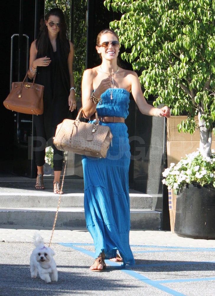 Alessandra Ambrosio with her dog.