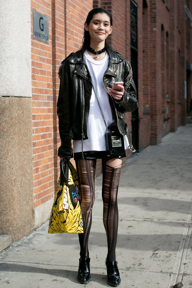 She Took The Alternative Style Route In Slashed Tights Model Street Style At New York Fashion