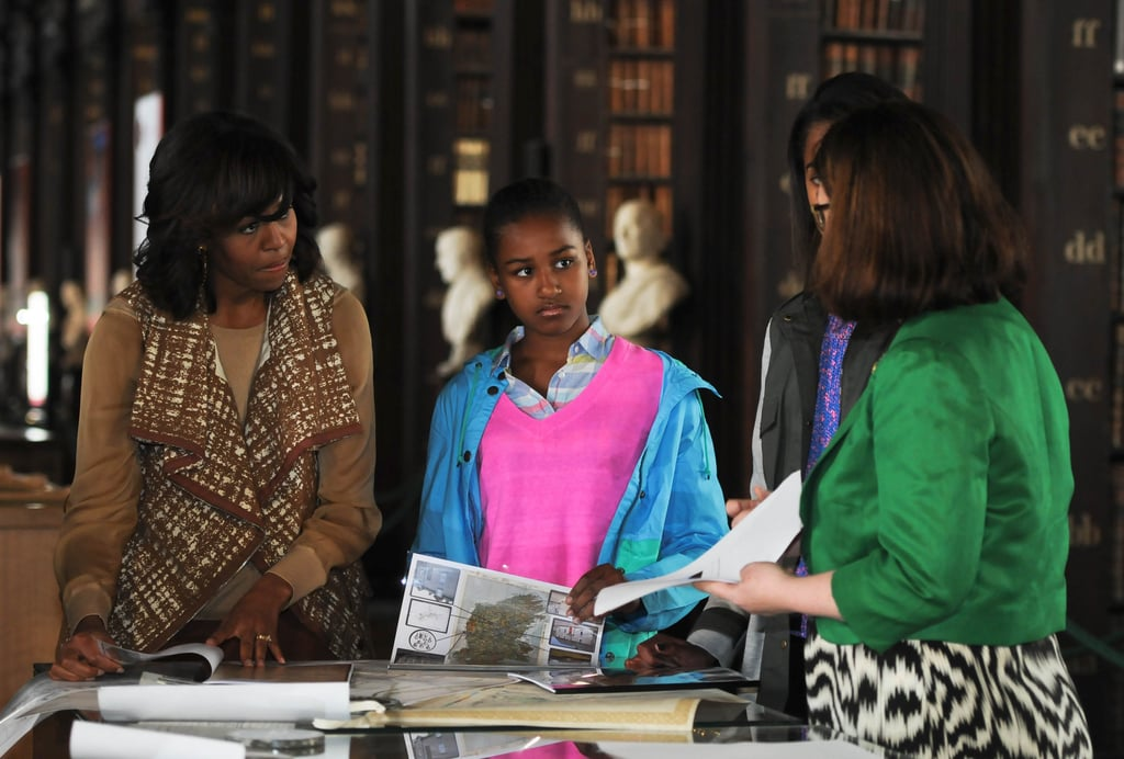 Michelle Obama donned a statement Lela Rose vest while visiting the Long Hall Library in Trinity, Ireland.