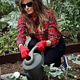 Melania wore Dolce & Gabbana sunglasses to garden at the White House in September 2017. While many were focused on the price tag of her Balmain flannel, she kept things affordable down below in Converse sneakers.
