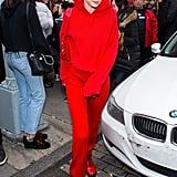 Gigi hit the streets of New York City in an all red outfit and Gigi Hadid for Vogue Eyewear sunglasses.