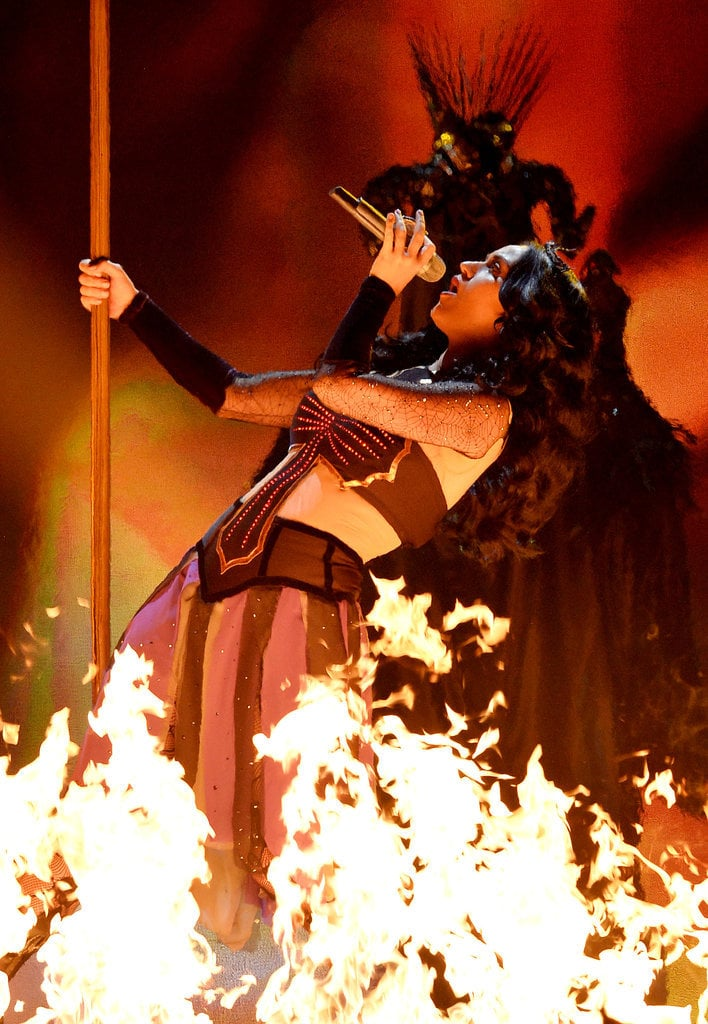 Katy Perry was literally on fire during her performance in 2014.