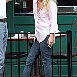 Mary-Kate Olsen with long blonde hair.
