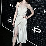Wearing a sexy slip dress at an event in 2017.