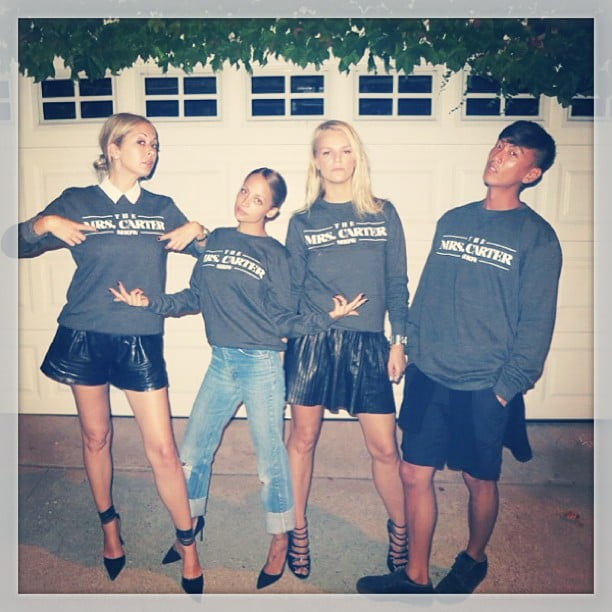 "Nicole Richie and her crew sported matching ""Mrs. Carter"" sweatshirts before heading to Beyoncé's concert in LA. Source: Instagram user nicolerichie"