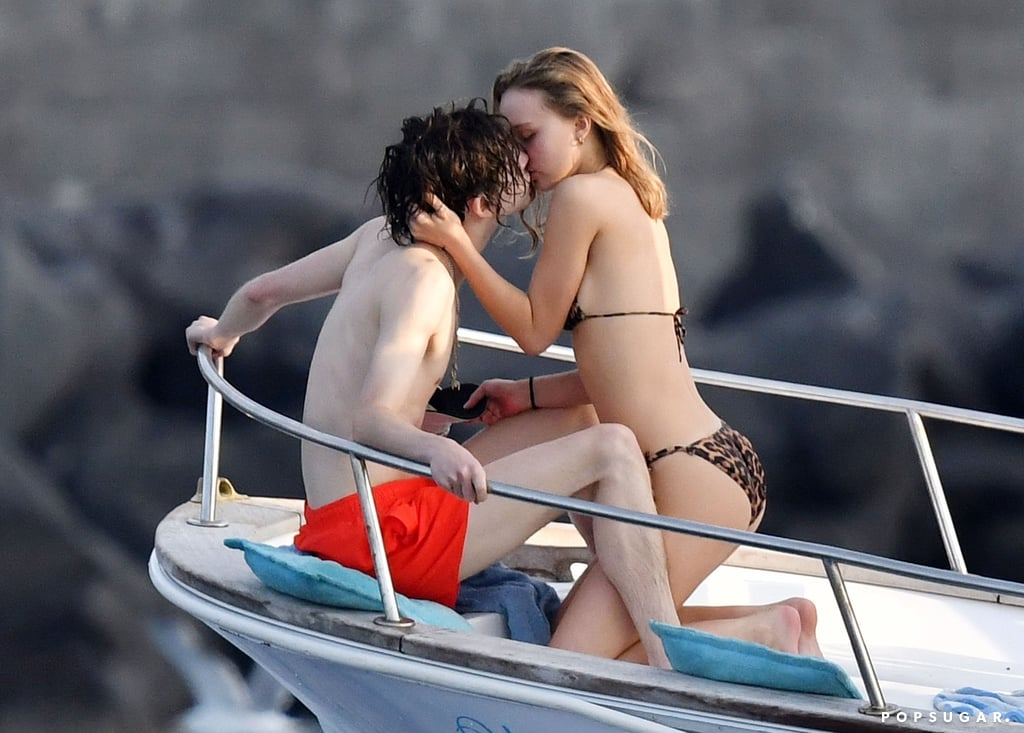 Timothée Chalamet Lily-Rose Depp Kissing on a Boat in Italy