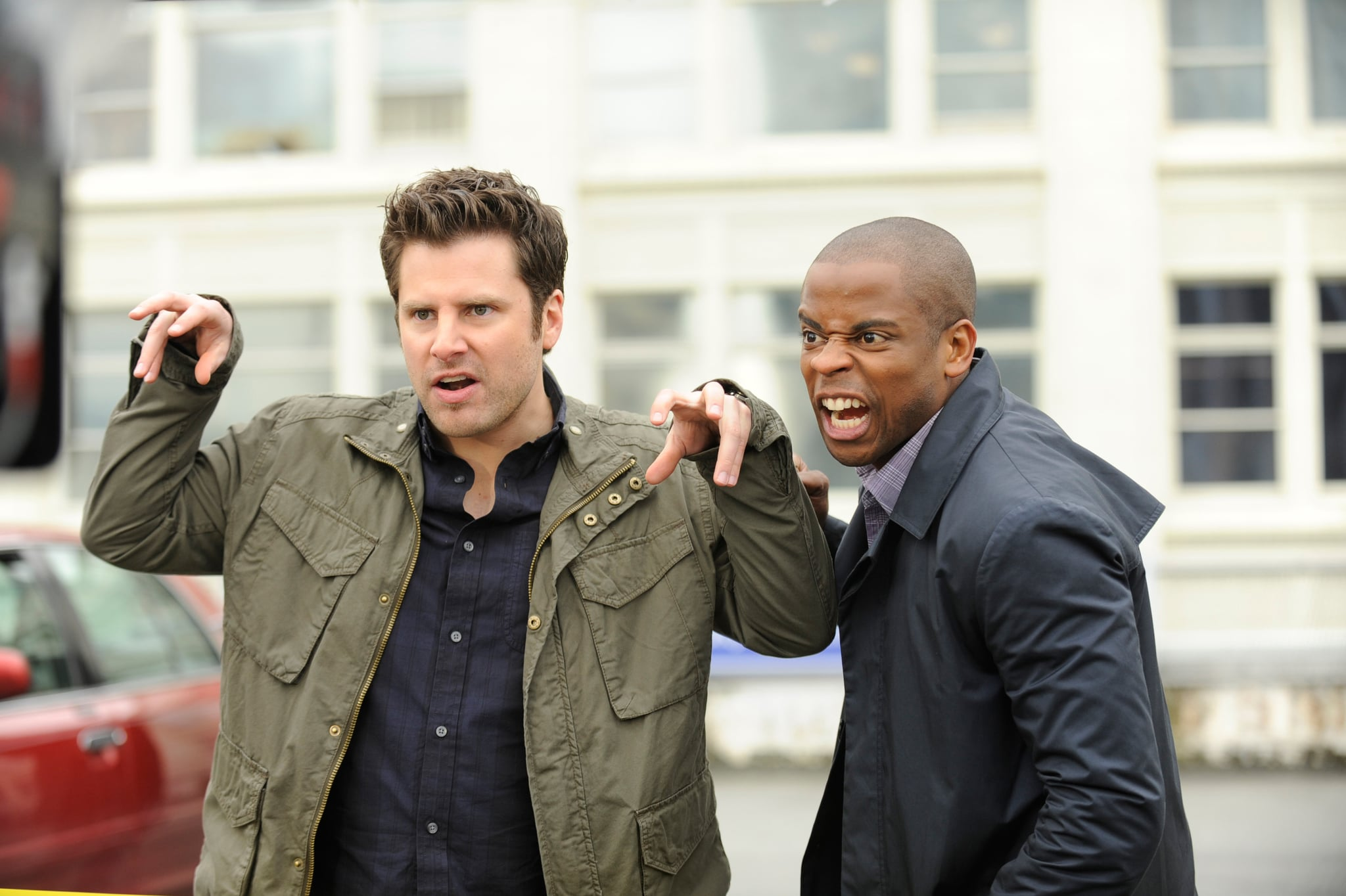 PSYCH, (from left): James Roday, Dule Hill, 'This Episode Sucks', (Season 6, ep. 603, aired Oct. 26, 2011), 2006-. photo: Alan Zenuk /  USA Network / Courtesy: Everett Collection