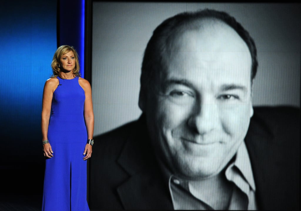 Edie Falco gave a touching tribute to James Gandolfini during the Emmys.