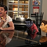Blaine hangs with the Jake and Will muppets.