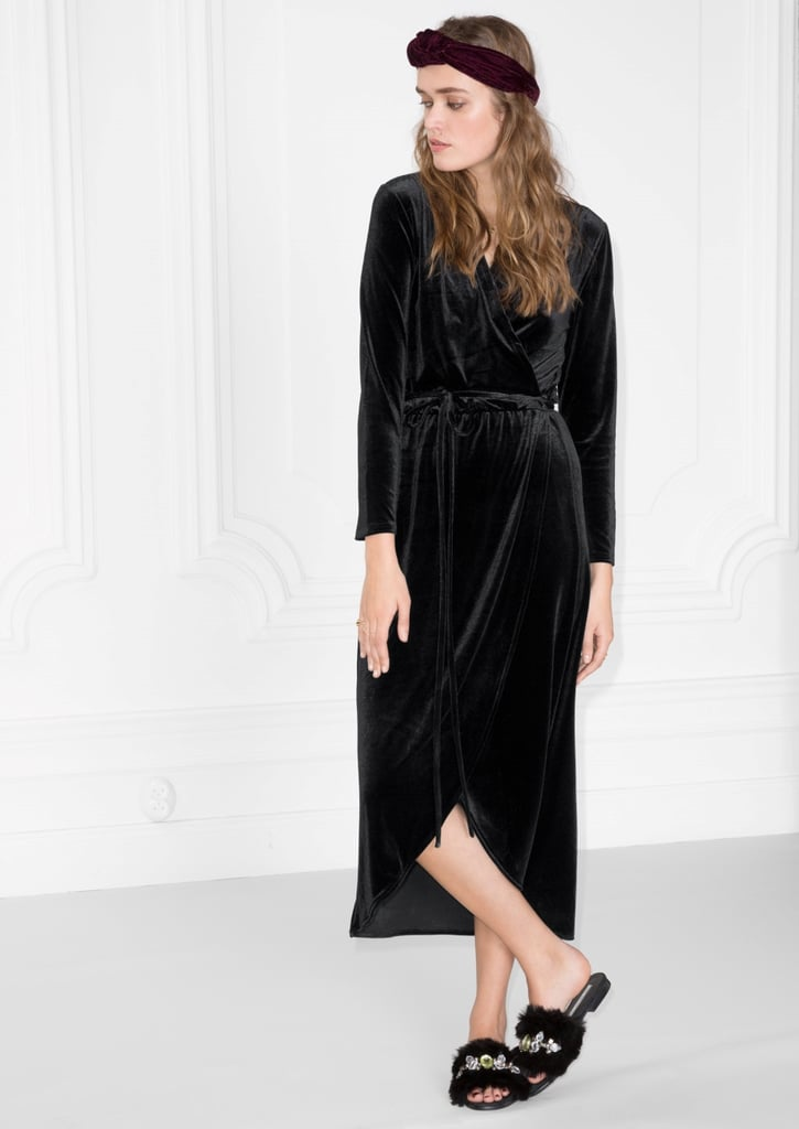 & Other Stories Crushed Velvet Wrap Dress (£69)