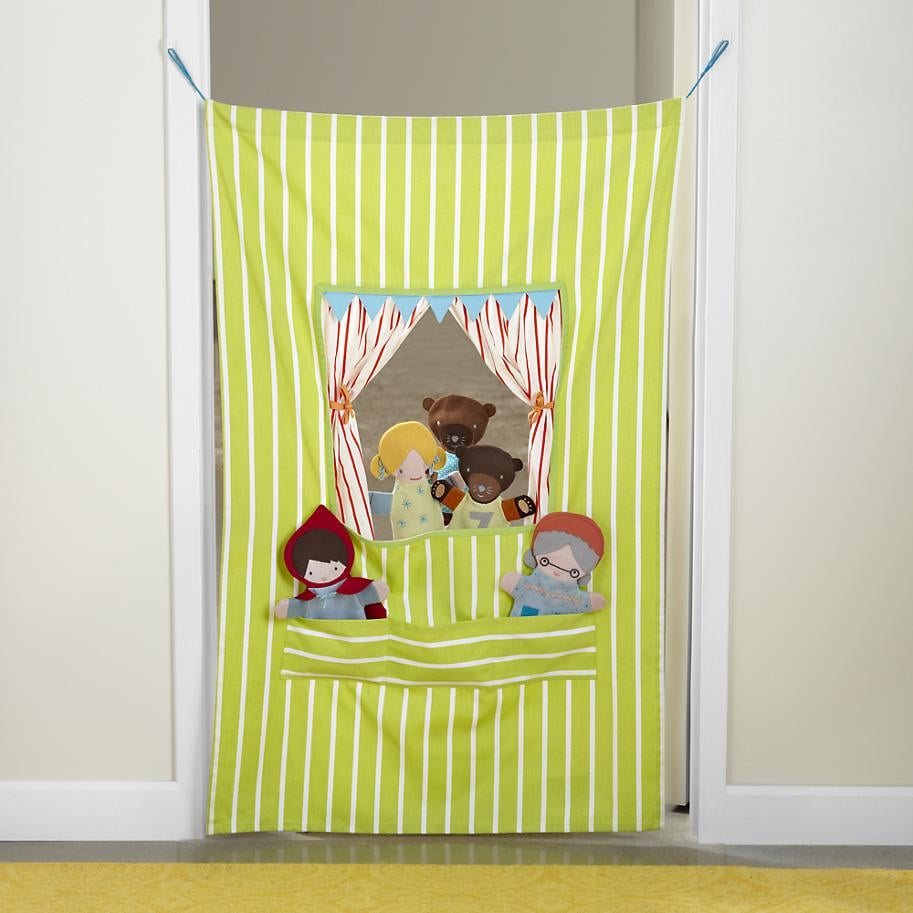 Turn your hallway into a Broadway production with this hanging puppet show drape ($39). Smaller, tieback curtains are perfect for preshow prep or imaginative intermissions.