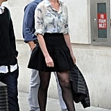 Anne Hathaway flashed a smile while heading into the BBC studios in London on Wednesday.